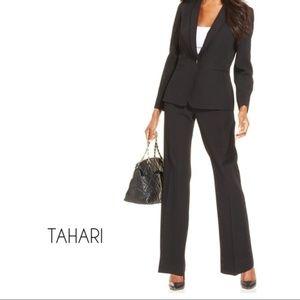 TAHARI ASL Black Pinstripe Pant Suit